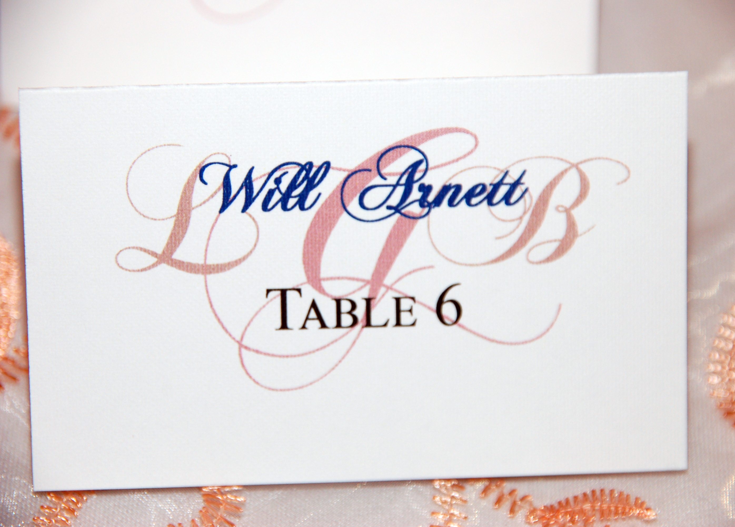 Table 6 Escort Card